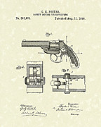 Weapon Drawings Posters - Pistol Device 1896 Patent Art Poster by Prior Art Design