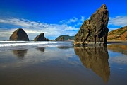 Reflections In River Metal Prints - Pistol River Sea Stacks Metal Print by Adam Jewell