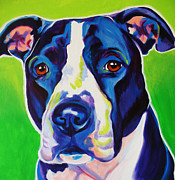 Dawgart Metal Prints - Pit Bull - Sadie Metal Print by Alicia VanNoy Call