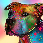 Animal Mixed Media Metal Prints - Pit Bull Metal Print by Mark Ashkenazi