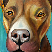 Bull Terrier Paintings - Pit Bull by Melissa Smith