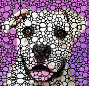 Wall Art Prints Digital Art Metal Prints - Pit Bull Stone Rockd Art By Sharon Cummings Metal Print by Sharon Cummings