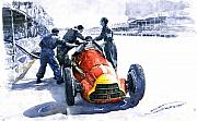 Stop Prints - Pit Stop Alfa Romeo158 British GP 1950 J M Fangio Print by Yuriy  Shevchuk