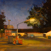 Gas Lamp Prints - Pit Stop Print by Athena  Mantle