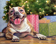 Presents Pastels Posters - Pitbull Christmas Poster by Susan Jenkins