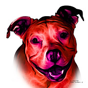 Pitbull Mixed Media Posters - Pitbull Terrier - F - S - WB - Red Poster by James Ahn