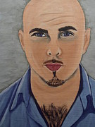 Singer Painting Originals - Pitbull the Singer by Tammy Rekito