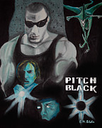 Pitch Painting Posters - Pitch Black Movie Poster by Erica Belcher