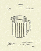 Pitcher Drawings Metal Prints - Pitcher 1913 Patent Art Metal Print by Prior Art Design