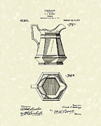 Pitcher Drawings Framed Prints - Pitcher 1915 Patent Art Framed Print by Prior Art Design