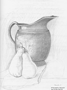 Pears Drawings Framed Prints - Pitcher and Pears Framed Print by Stan Cox