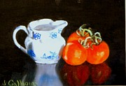 Pottery Pitcher Painting Prints - Pitcher and Tomatoes Print by Jennifer Calhoun