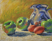 Eggs Pastels Posters - Pitcher with Eggs and Apples Poster by Cristine Sundquist