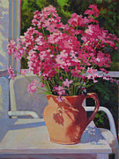 Phlox Painting Framed Prints - Pitcher With Phlox Framed Print by Keith Burgess