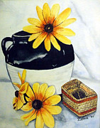 Old Pitcher Painting Prints - Pitcher with yellow flowers Print by Zelma Hensel