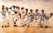 Baseball Art Drawings Metal Prints - PItching Windup  Metal Print by Michael  Pattison