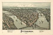 Vintage Map Painting Framed Prints - Pittsburg Map Framed Print by Vintage Images