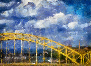 Pittsburgh Digital Art Framed Prints - Pittsburgh 16th Street Bridge Framed Print by Amy Cicconi