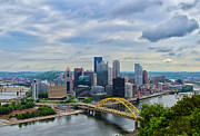 Downtown Pittsburgh Framed Prints - Pittsburgh and Above Framed Print by Rachel Cohen
