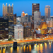 Pittsburgh Skyline. Framed Prints - Pittsburgh at Night  Framed Print by Emmanuel Panagiotakis