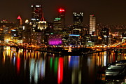 Jay Nodianos Metal Prints - Pittsburgh Christmas at night Metal Print by Jay Nodianos