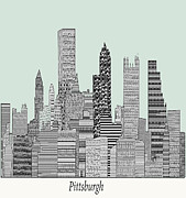 Vintage Map Digital Art Prints - Pittsburgh City Skyline  Print by Brian Buckley