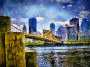 Shore Digital Art - Pittsburgh North Shore Skyline by Amy Cicconi