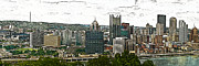 Citiscapes Photos - Pittsburgh Panorama Artistic Brush by G L Sarti