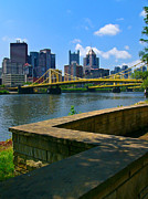 Cityscape Pyrography Prints - Pittsburgh Pennsylvania Skyline and Bridges as seen from the North Shore Print by Amy Cicconi
