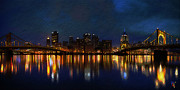 Red Buildings Digital Art Posters - Pittsburgh Skyline 2 Poster by Byron Fli Walker