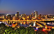 Pittsburgh Skyline.  Framed Prints - Pittsburgh Skyline at Night Framed Print by Shawn Everhart