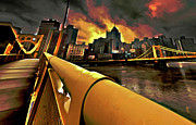 Orange Sunset Posters - Pittsburgh Skyline Poster by Byron Fli Walker