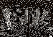 Pittsburgh Drawings Posters - Pittsburgh Skyline Poster by Jess Telmanik