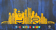 Skylines Mixed Media Framed Prints - Pittsburgh Skyline License Plate Art Framed Print by Design Turnpike