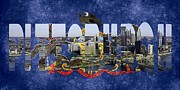 Pittsburgh Pirates Prints - Pittsburgh Skyline with State Flag Print by Spencer McKain