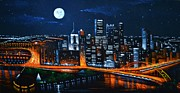 Pittsburgh Painting Framed Prints - Pittsburgh  SOLD Framed Print by Thomas Kolendra