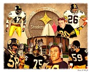Steelers Digital Art Prints - Pittsburgh Steelers Defensive Hall of Fame Legends Print by Charles Ott