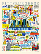 Colorful Art Posters - Pittsburghese Poster by Ron Magnes