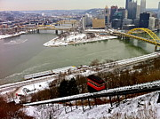 Duquesne Incline Prints - Pittsburghs Point And Duquesne Inlcine Print by Denise Mazzocco