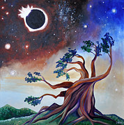 Solar Eclipse Painting Framed Prints - Pivotal Moment Framed Print by Cedar Lee