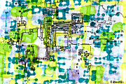 Factory Drawings Framed Prints - Pixel Factory Framed Print by Regina Valluzzi