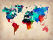 World Map Digital Art Metal Prints - Pixelated World Map Metal Print by Irina  March