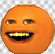 Annoying Digital Art Posters - Pixeled Annoying Orange Poster by Nick Angelosoulis