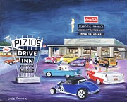 Drive In Painting Framed Prints - Pizios - Happy Days Framed Print by Linda Cabrera