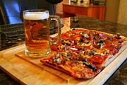 Kkphoto1 Framed Prints - Pizza And Beer Framed Print by Kay Novy