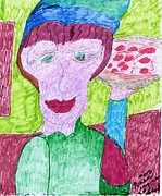 Waiter Mixed Media Metal Prints - Pizza Anyone Metal Print by Elinor Rakowski