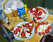 Mozzarella Prints - Pizza by Rachel Sobota Print by Sheldon Kralstein