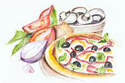 Italian Meal Painting Prints - Pizza Margarita Print by Irina Gromovaja