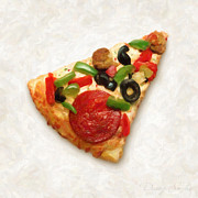 Macro Paintings - Pizza Slice by Danny Smythe