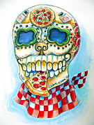 Italian Restaurant Framed Prints - Pizza Sugar Skull Framed Print by Heather Calderon